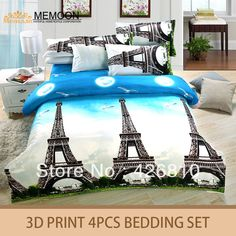 Het hete verkopen hometextile! Hoge kwaliteit parijs toren ontwerp 3d print beddengoed in van op Aliexpress.com