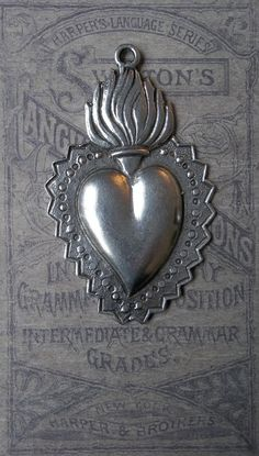 Antiqued Silver Flaming Sacred Heart ... Milagro Charm
