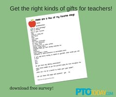 Survey teachers to help your group get the gifts they really need!