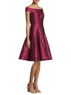db1fe1ff90 Carmen Marc Valvo - Off-The-Shoulder Floral Lace Dress