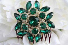 Bridal Hair Comb Green, Emerald Hair Comb, Wedding Hair Comb