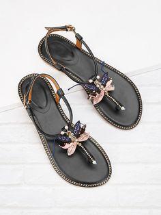 84179481b4a01 Rhinestone Decor Toe Post Flat Sandals