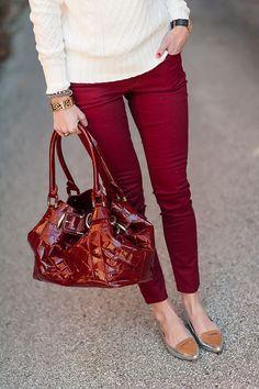 Burgundy skinnies with flats // Seersucker and Saddles blog