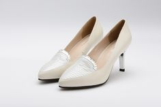 FGN Brand Office Lady Pointed Toe Honeycomb Vamp Slip On Pump Shoes F58X601K - White