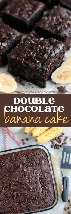 Double Chocolate Banana Cake is lightly sweet, moist, and chocolatey. No frosting required!
