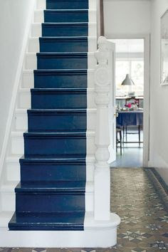 Blue painted stairs are such a fun way to add color and personality to your home in an unexpected way! Here are 6 different styles of blue painted stairs.