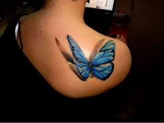 3D butterfly tattoo 32 - 65 3D butterfly tattoos  <3 <3