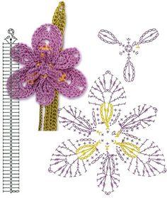 No.80 Louisiana Iris Crochet Flower Motifs / 아이리스 코바늘 플라워 모티브도안