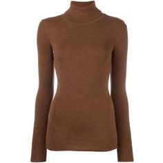 Laneus ribbed turtleneck jumper (265 CAD) ❤ liked on Polyvore featuring tops, sweaters, brown, jumpers sweaters, turtle neck sweater, jumper top, turtle neck top and brown tops
