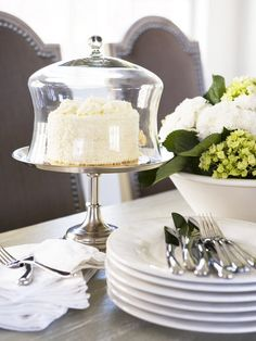 Cake dome on silver stand