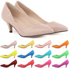 Womens Sexy Low Mid Kitten Heels Shoes PU Leather Pumps Size 4 5 6 7 8 9 10 11 in Clothing, Shoes & Accessories, Women's Shoes, Heels Kitten Heel Shoes, Mid Heel Shoes, Patent Shoes, High Heel Pumps, Women's Pumps, Shoes Heels, Pink Pumps, Low Heels, Wedge Shoes