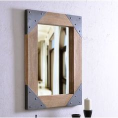 Millwood Pines Kacey Wall Mirror   Wayfair.ca Wall Mounted Hooks, Distressed Walls, Round Wall Mirror, Wall Mirrors, Modern Entryway, Mirrors Wayfair, Baskets On Wall, Beveled Glass, Industrial Style