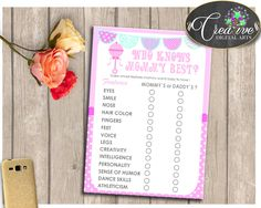 Shower Plaything Rattler Baby Shower Mommy Trivia Who Knows Mom WHO KNOWS MOMMY Best, Party Planning, Printables - bsr01 #babyshowergames #babyshower