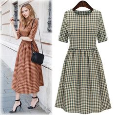 S-XL Red/Green Retro Style Grid Dress SP165436