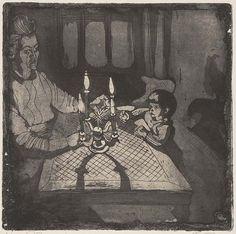 """Die Radierung """"4. Advent"""" (Zinkätzung, Aquatinta) ist 1955 entstanden. Zu sehen sind seine Frau Lisbeth und seine Tochter Margarethe.     4. Advent, Hans Körnig, Radierung, 1955"""