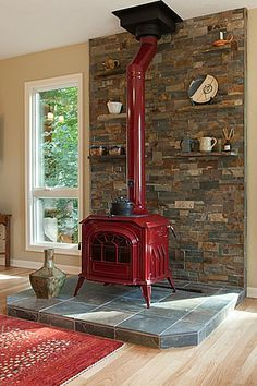 Country Living Room with Hardwood floors, double-hung window, Breckwell cast iron wood stove red, Standard height, Fireplace Wood, Home, House Design, Wood Stove Fireplace, Wood Burner, Living Room Wood, Wood Burning Stove, Country Living Room, Fireplace