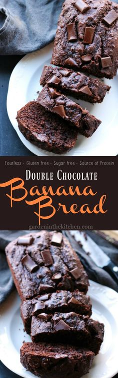 This Double Chocolate Banana Bread is a protein packed recipe that is flourless, gluten-free, vegan and is entirely made in a blender! Brownie Desserts, Oreo Dessert, Mini Desserts, Gluten Free Desserts, Vegan Desserts, Delicious Desserts, Dessert Recipes, Yummy Food, Paleo Sweets