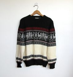 SOLD / Mens #Vintage 1970s KP Collection / Deer Pattern / Cable Knit Sweater by VelouriaVintage, $24.00