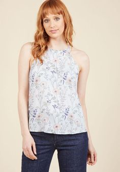 AdoreWe - ModCloth Architectural Adventures Sleeveless Top in Floral in XL - AdoreWe.com
