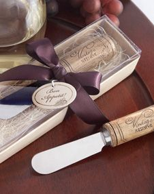 Vintage Reserve Stainless-Steel Spreader with Wine Cork Handle #wedding #favor #bridal