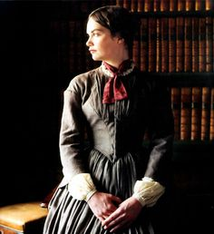 Ruth Wilson, Jane Eyre - (Series Costume Design by Andrea Galer + John Bright) ~ I love when Jane decides to wear the little red scarf to try to get Mr. It shows her flirtatious side. Ruth Wilson Jane Eyre, Jane Eyre 2006, Jane Eyre Bbc, Jane Austen, Charlotte Bronte Jane Eyre, Toby Stephens, Bronte Sisters, White Tv, Famous Novels