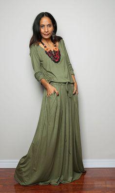 Green Maxi Dress   Long Sleeve dress  Autumn Thrills by Nuichan