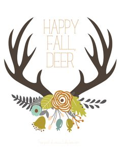 FREE Antler print, perfect for fall! via LollyJane.com