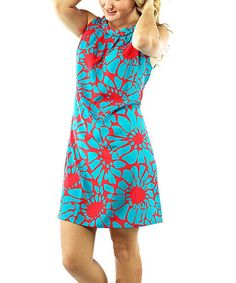 Look what I found on #zulily! Petals Turquoise Brynly Shift Dress - Women by Tracy Negoshian #zulilyfinds