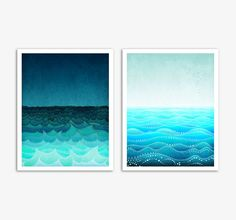 Two 5x7 illustrations - SEA soul - Fine art illustrations,Fine art prints,Love,Art prints,Love illustration,Art Posters,Wall art,Turquoise via Etsy