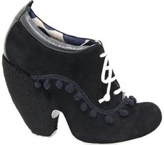 Irregular Choice Tea Cup Sueded Lace Up Womens Oxford Style Wedge Platform Bootie Pump, Black, 7 M US Women