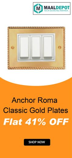 Anchor Roma Classic Gold Plate Module-1 have compact design looks good on any wall. The plate's superior finish makes any space looks beautiful and contemporary. Shop at http://bit.ly/2b78b78 for affordable prices. To place orders,call or whatsapp to 9019156789