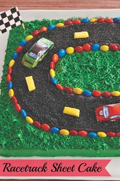 Have some racing fans in the family? Whip up this surprisingly simply cake with frosting grass and racetrack, perfect for a race-watching party or your favorite car lover's birthday. The cars are even made of chocolate—how cute is that?