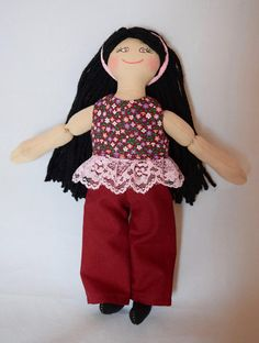 Girl Doll With Black Hair - Rag Doll - Toys For Kids