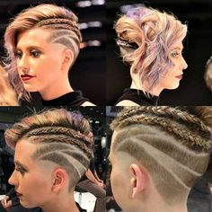 Cute undercut with braids and curly hair