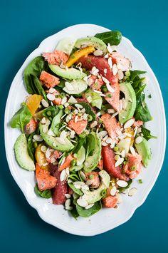Healthy Citrus-Avocado Salmon Salad A heart healthy main dish salmon salad loaded up with avocado, citrus, and almonds.A heart healthy main dish salmon salad loaded up with avocado, citrus, and almonds. Salmon Salad Recipes, Easy Salad Recipes, Chicken Salad Recipes, Healthy Recipes, Easy Salads, Healthy Salads, Summer Salads, Fish Recipes, Seafood Recipes