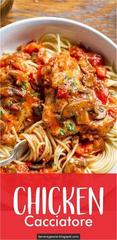 Chicken Cacciatore Beverages me Cacciatore Recipes, Chicken Cacciatore, Turkey Recipes, Chicken Recipes, Dinner Recipes, Healthy Chicken, Pasta Recipes, Dinner Ideas, Chicken