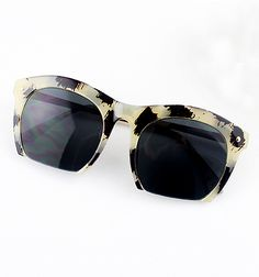 Leopard Rim Black Lenses Sunglasses - Sheinside.com