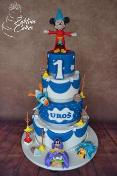 Mickey Mouse Fantasia - cake by Zaklina Mickey Cakes, Mickey Mouse Cake, Boy Birthday, Birthday Cakes, Birthday Ideas, Mickey And Friends, Disney Fun, Fondant Cakes, Themed Cakes