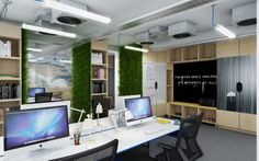 Openplan office visual for a media client in London. Proposed design and build project to include: Living walls, illustrative wall graphics, whiteboard cupboard doors.  Interactive, open and fresh  www.dentonassociates.com