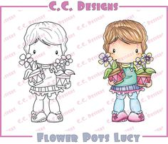 CC Designs - Swiss Pixie Collection - Cling Mounted Rubber Stamps - Flower Pots Lucy at Scrapbook.com