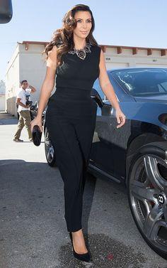 Kim Kardashian wearing Gianvito Rossi Pointed Toe Pump Lanvin Crystal Ribbon Necklace