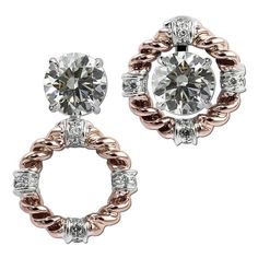 Gottlieb & Sons 29700B - Vintage inspired rose and white gold diamond convertible earring jackets. (studs sold separately)