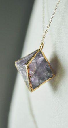geometric amethyst necklace