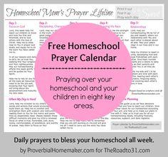 FREE Homeschool Prayer Calendar Printable