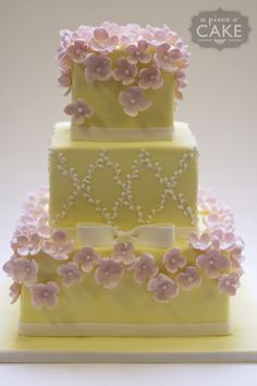 Cute yellow and pink cake I like the idea of X's (and maybe XOXO?) around the cake Beautiful Wedding Cakes, Gorgeous Cakes, Pretty Cakes, Cute Cakes, Amazing Cakes, Unique Cakes, Elegant Cakes, Sweet 16, Gateaux Cake