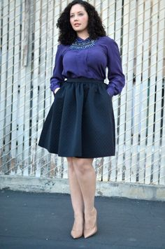 To accentuate (or fake) an hourglass shape, tuck a shirt all the way into an a-line skirt.