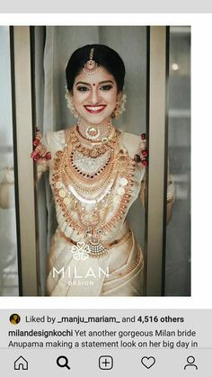 Kerala Hindu Bride, Kerala Wedding Saree, Saree Wedding, Desi Wedding, Wedding Bride, Wedding Pics, South Indian Wedding Hairstyles, Hairstyles For Gowns, Bridal Silk Saree