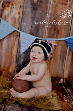 Fall Newborn Boy.... Boy Photo Prop... Fall Football Brown and White Hand Knit Baby Hat- Ready to Ship. $22.99, via Etsy.
