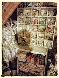 Mannequin, jewelry, bling, lace, fabric...a little slice of heaven in my craft room! Pinned by Julie Cruzan