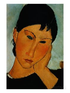 Detail of Female Head from Elvira Resting at a Table Giclee-trykk av Amedeo Modigliani hos AllPosters.no